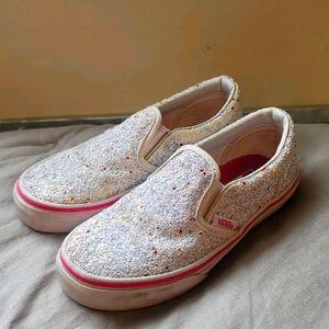 Girls Chunky Stars Glitter Slip On Vans Sz 13.5